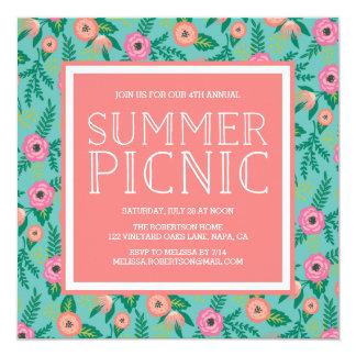 Convite colorido do piquenique do verão das flores