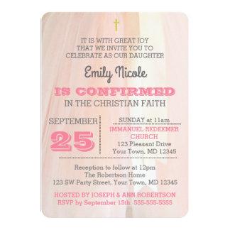 Convite cor-de-rosa da confirmação da bailarina