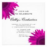 Convite cor-de-rosa da festa de formatura da flor