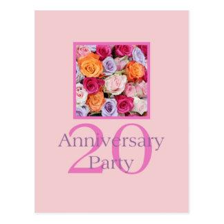 convite cor-de-rosa do 20o aniversário