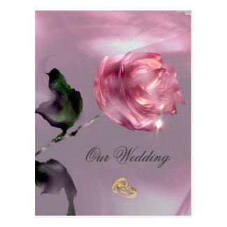 Convite cor-de-rosa do casamento cartão postal