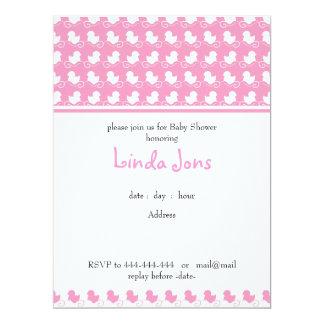 convite cor-de-rosa do chá de fraldas da fileira convite 16.51 x 22.22cm