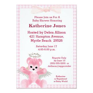 Convite cor-de-rosa do chá de fraldas do urso do