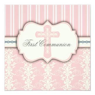 Convite cor-de-rosa do damasco do primeiro