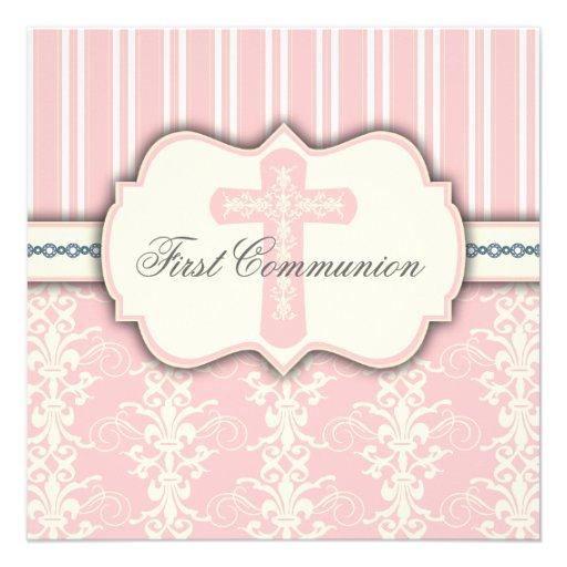 Convite cor-de-rosa do damasco do primeiro comunhã