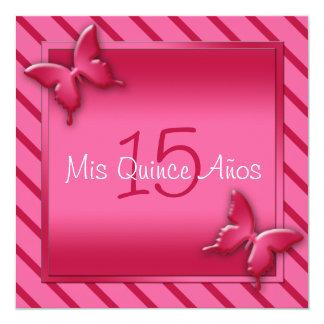 Convite cor-de-rosa e vermelho de Quinceañera da