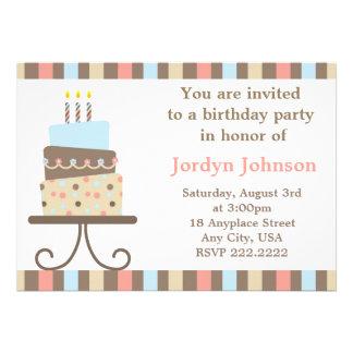 Convite customizável do bolo de aniversário