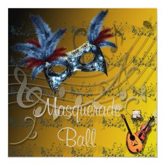 Convite da bola de mascarada das cores dos