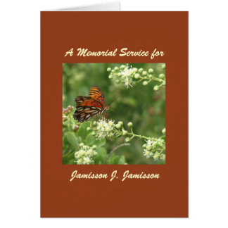 Convite da cerimonia comemorativa, borboleta alara cartao