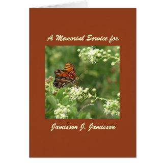 Convite da cerimonia comemorativa, borboleta cartão comemorativo