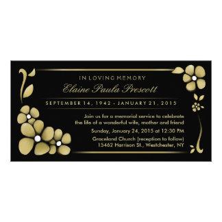 Convite da cerimonia comemorativa - ouro & floral cartão com foto