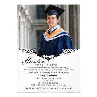 Convite da cornija de lareira da foto da graduação
