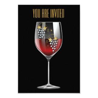 Convite da degustação de vinhos - cristais de