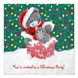 Convite da festa de Natal com o urso de ursinho do