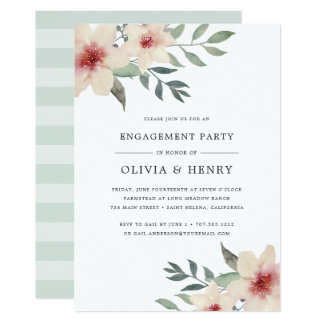 Convite da festa de noivado da flor do pêssego