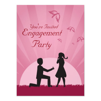 Convite da festa de noivado do casal da silhueta