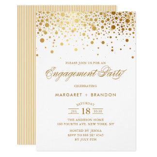 Convite da festa de noivado dos confetes da folha