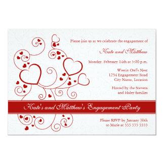 Convite da festa de noivado dos corações e dos