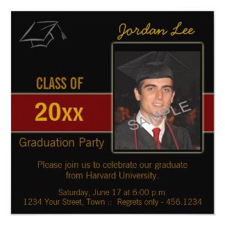 Convite da foto da festa de formatura convite quadrado 13.35 x 13.35cm
