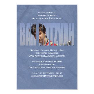 Convite da foto de Mitzvah do bar no azul enrugado