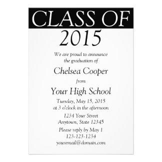 Convite da graduação anúncio pretos brancos