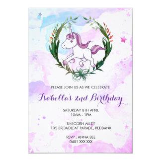 Convite da menina do aniversário do unicórnio da