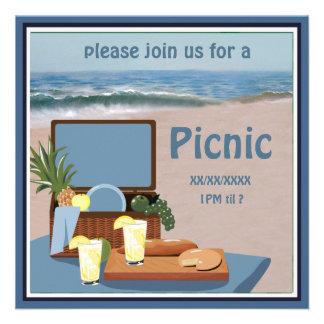 Convite da praia da cesta do piquenique