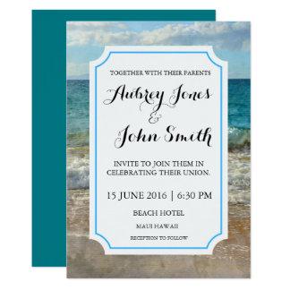 Convite da praia ou do casamento da aguarela da