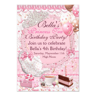 Convite da princesa tea party