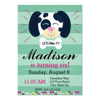 Convite Dalmatian do aniversário (listras verdes)