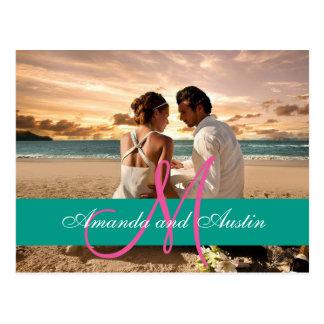 Convite das relações/casamento do amor da praia do cartão postal