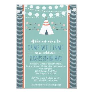 Convite de acampamento do aniversário do menino do
