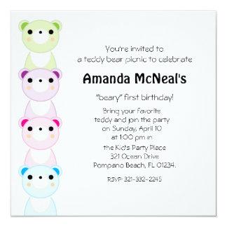 convite de aniversário 2 do piquenique do urso de convite quadrado 13.35 x 13.35cm