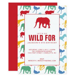 Convite de aniversário animal do menino do safari