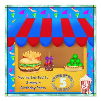 Convite de aniversário colorido dos meninos 5o