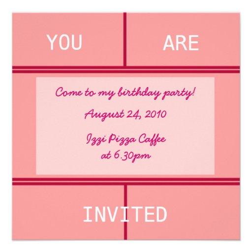 Convite de aniversário cor-de-rosa