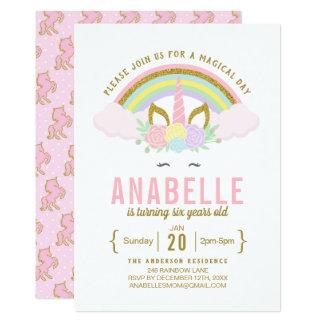 Convite de aniversário cor-de-rosa dos unicórnios
