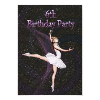 Convite de aniversário da bailarina 6o convite 12.7 x 17.78cm