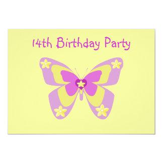 Convite de aniversário da borboleta 14o