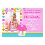 Convite de aniversário da foto do cupcake do
