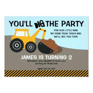 Convite de aniversário da máquina escavadora dos