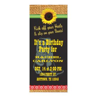 Convite de aniversário da vaqueira do girassol