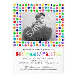 Convite de aniversário das bolinhas do arco-íris