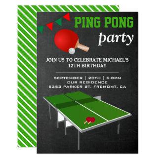 Convite de aniversário de Pong do sibilo do ténis