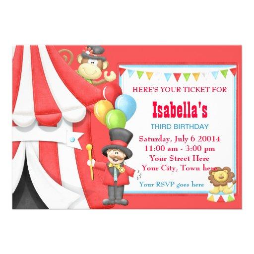 Convite de aniversário do circo do carnaval