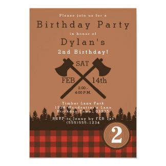 Convite de aniversário do lenhador