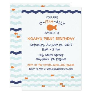 Convite de aniversário do peixe dourado