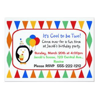 Convite de aniversário do pinguim