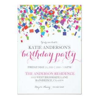 Convite de aniversário dos confetes   do arco-íris convite 12.7 x 17.78cm