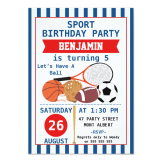 Convite de aniversário dos esportes dos meninos